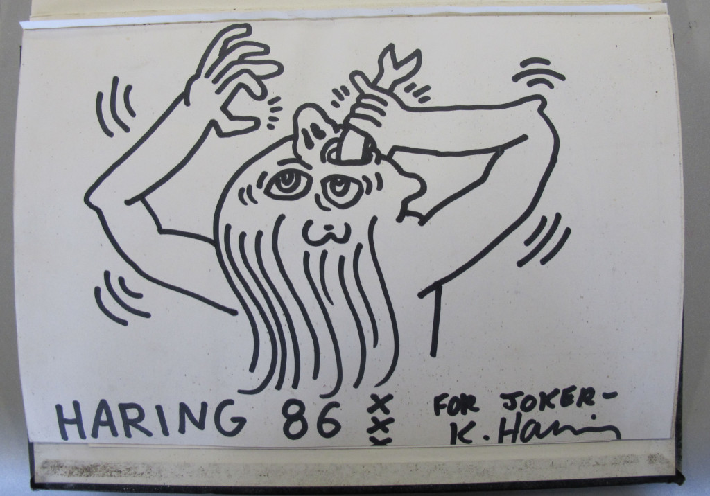 Black book Joker, bladzijde met tekening van Keith Haring, 1986 © Keith Haring Foundation
