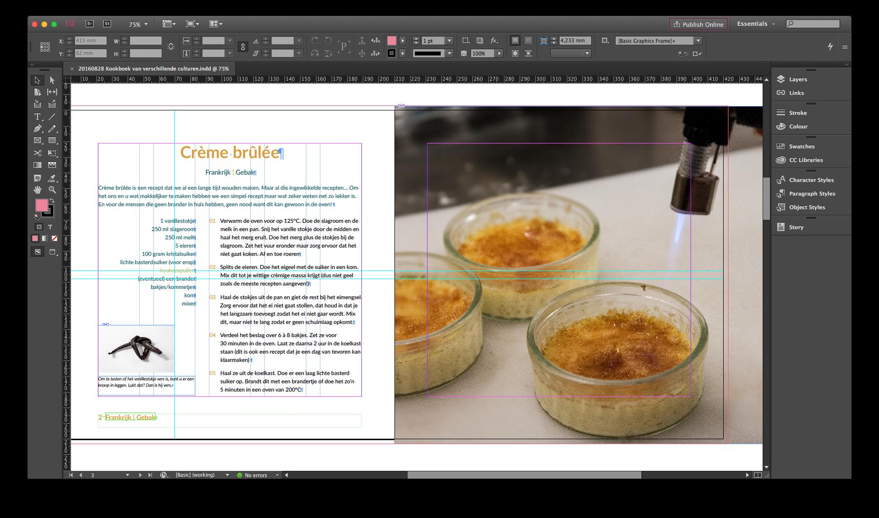 InDesign kookboekpagina
